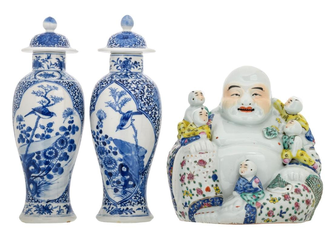 Two Chinese blue and white floral decorated baluster