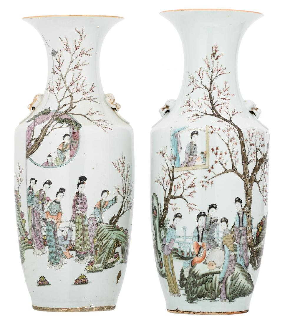 Two Chinese polychrome decorated vases with a gallant