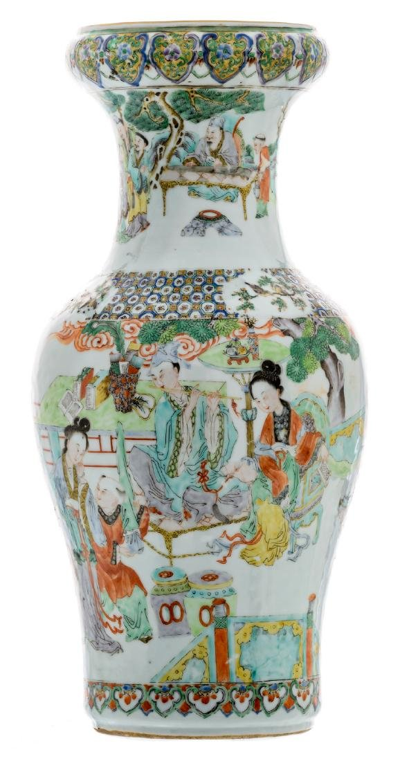 A Chinese overall polychrome baluster shaped vase with