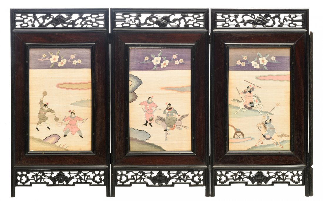 A Chinese carved hardwood kesi silk four panel screen,