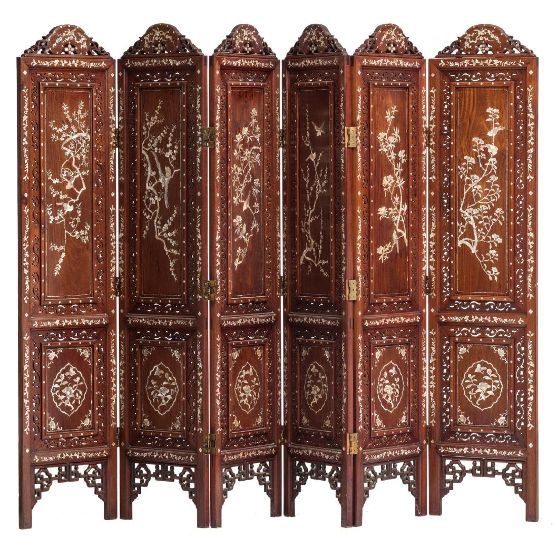 A Chinese carved hardwood six panel screen with