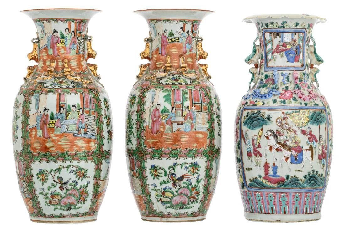 A Chinese famille rose floral decorated vase, the