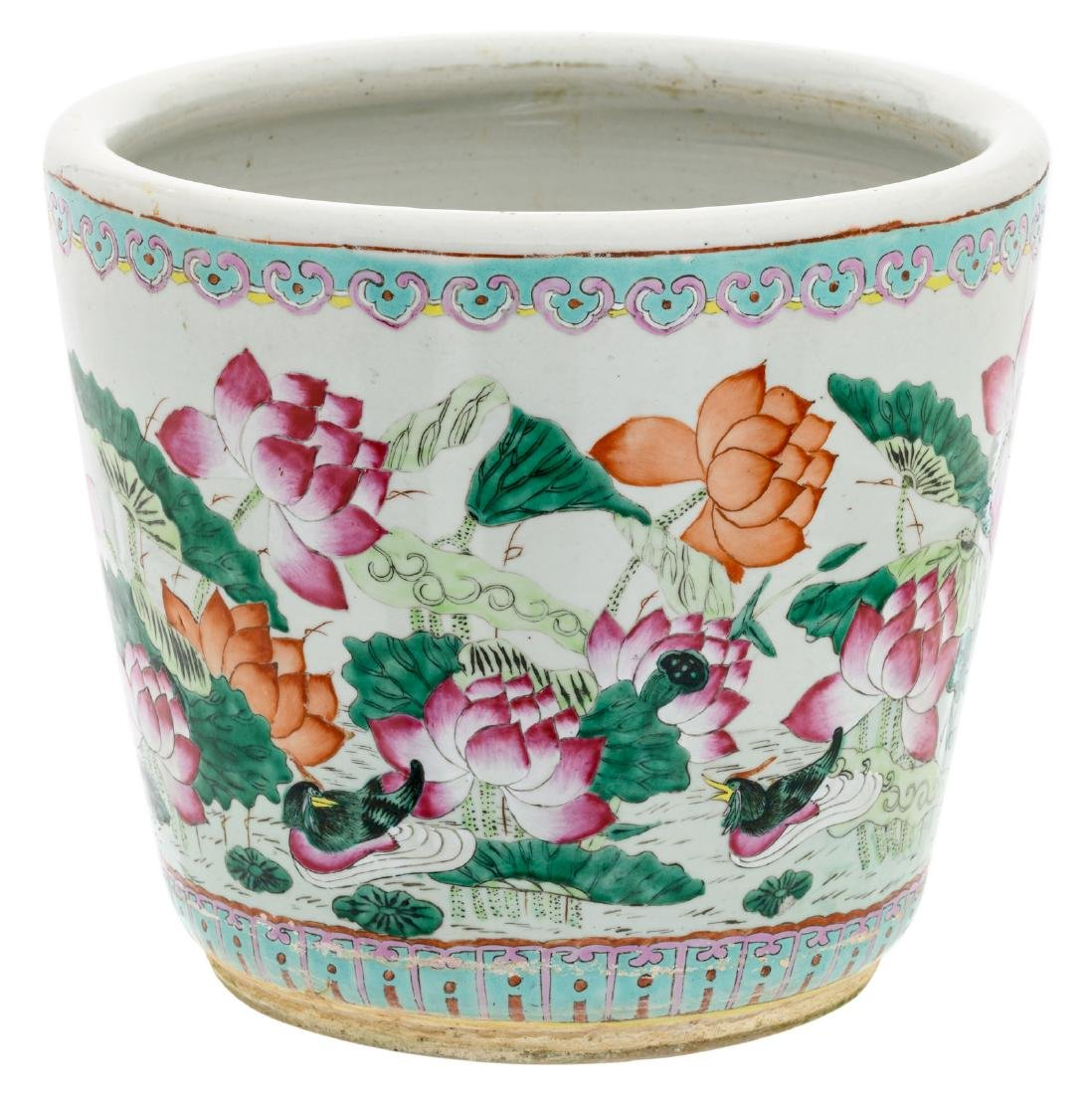 A Chinese famille rose jardiniere, overall decorated