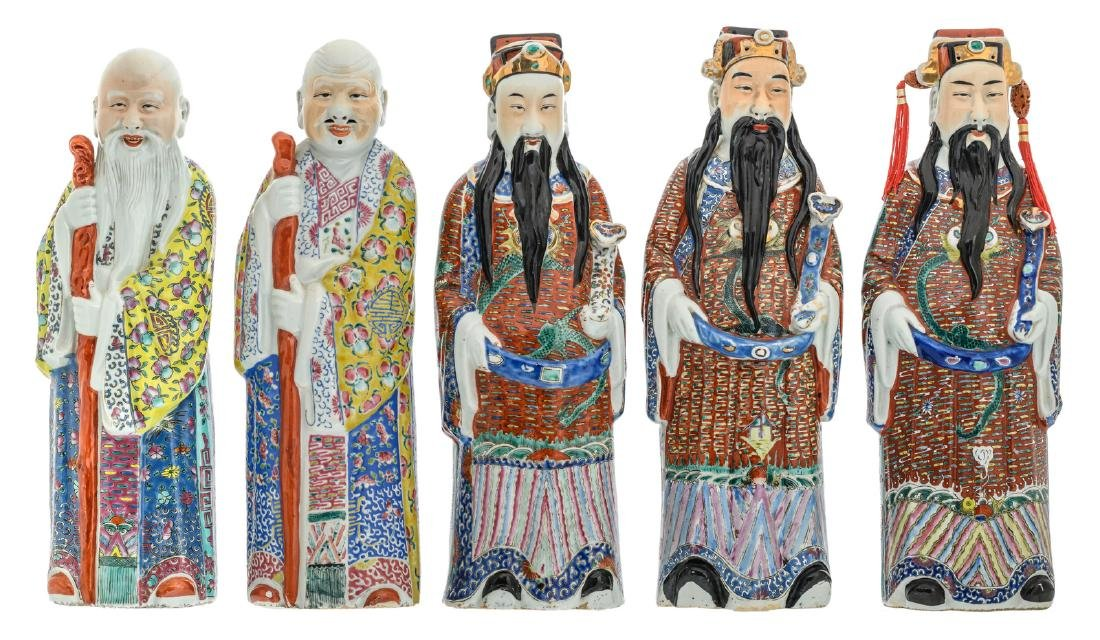 Five Chinese polychrome decorated figures depicting