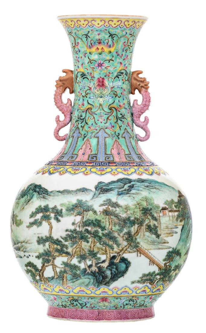 A Chinese famille rose and polychrome decorated bottle