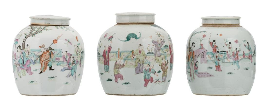 Three Chinese famille rose ginger jars, decorated with