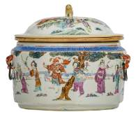 A Chinese famille rose pot and cover decorated with