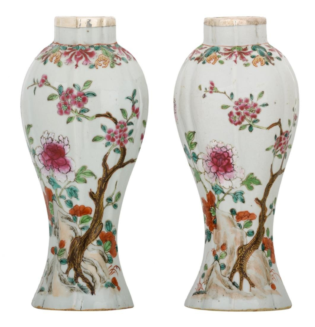 Two Chinese famille rose baluster shaped vases,