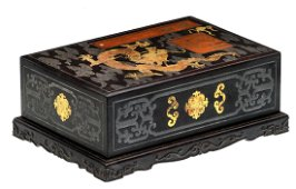 A Chinese zitan wood scholar box, huanghuali wood, gilt