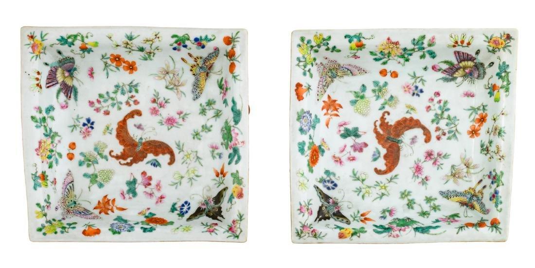 A pair of Chinese famille rose quadrangular plates,