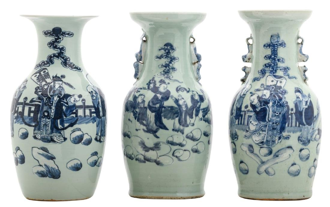 Three Chinese celadon ground blue and white decorated