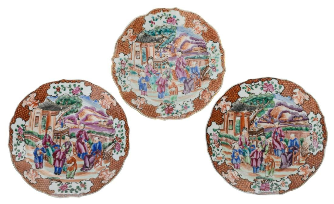 Three Chinese famille rose mandarin export porcelain