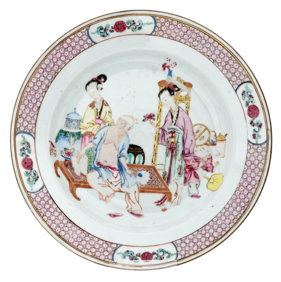 A Chinese famille rose ruby back export porcelain dish