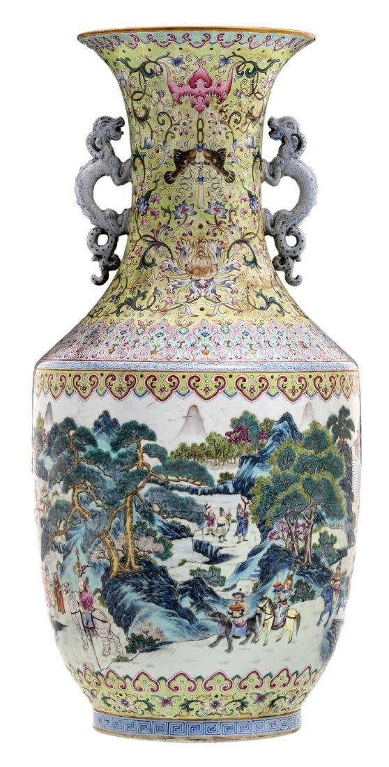 A large Chinese famille rose and polychrome floral