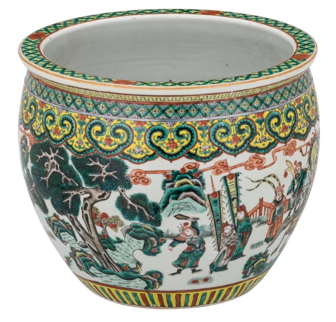 A Chinese famille verte overall decorated fish bowl