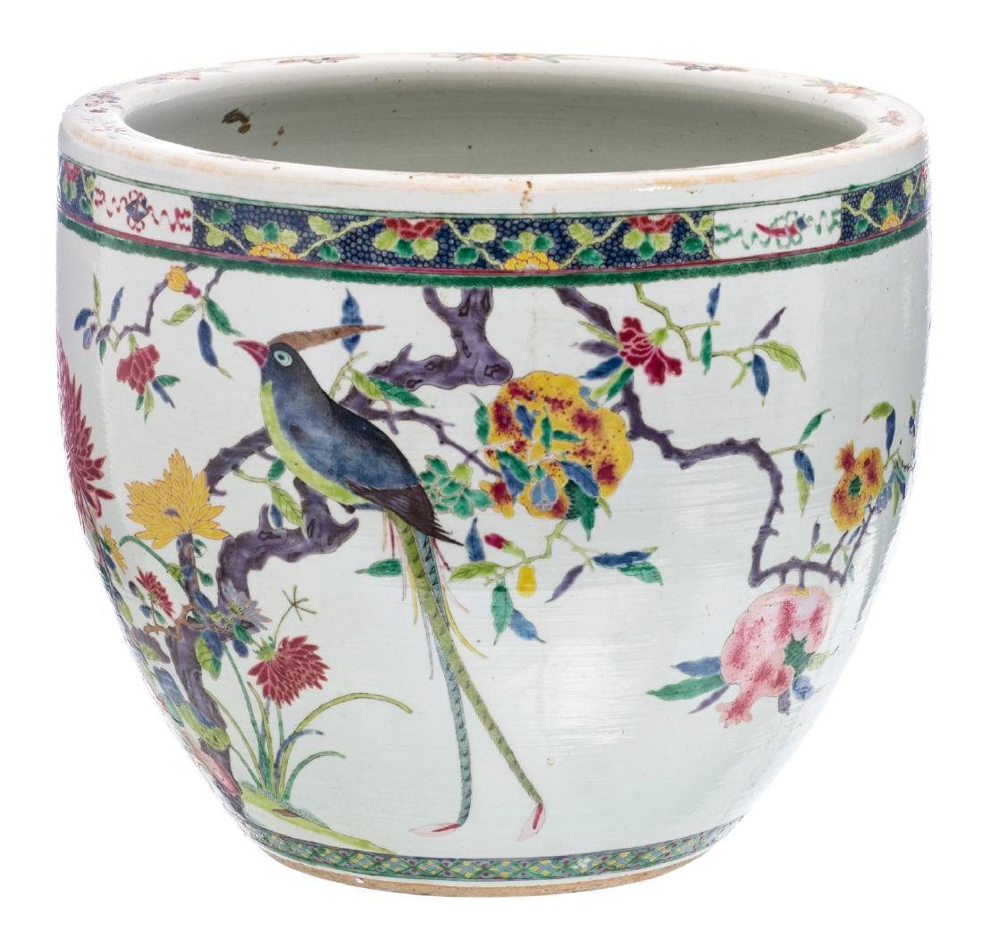 A Chinese famille rose overall decorated jardiniere