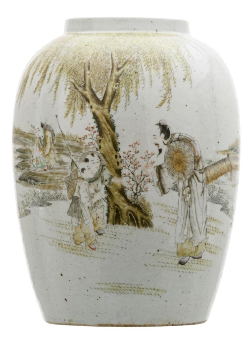 A Chinese polychrome decorated jar with figures and a