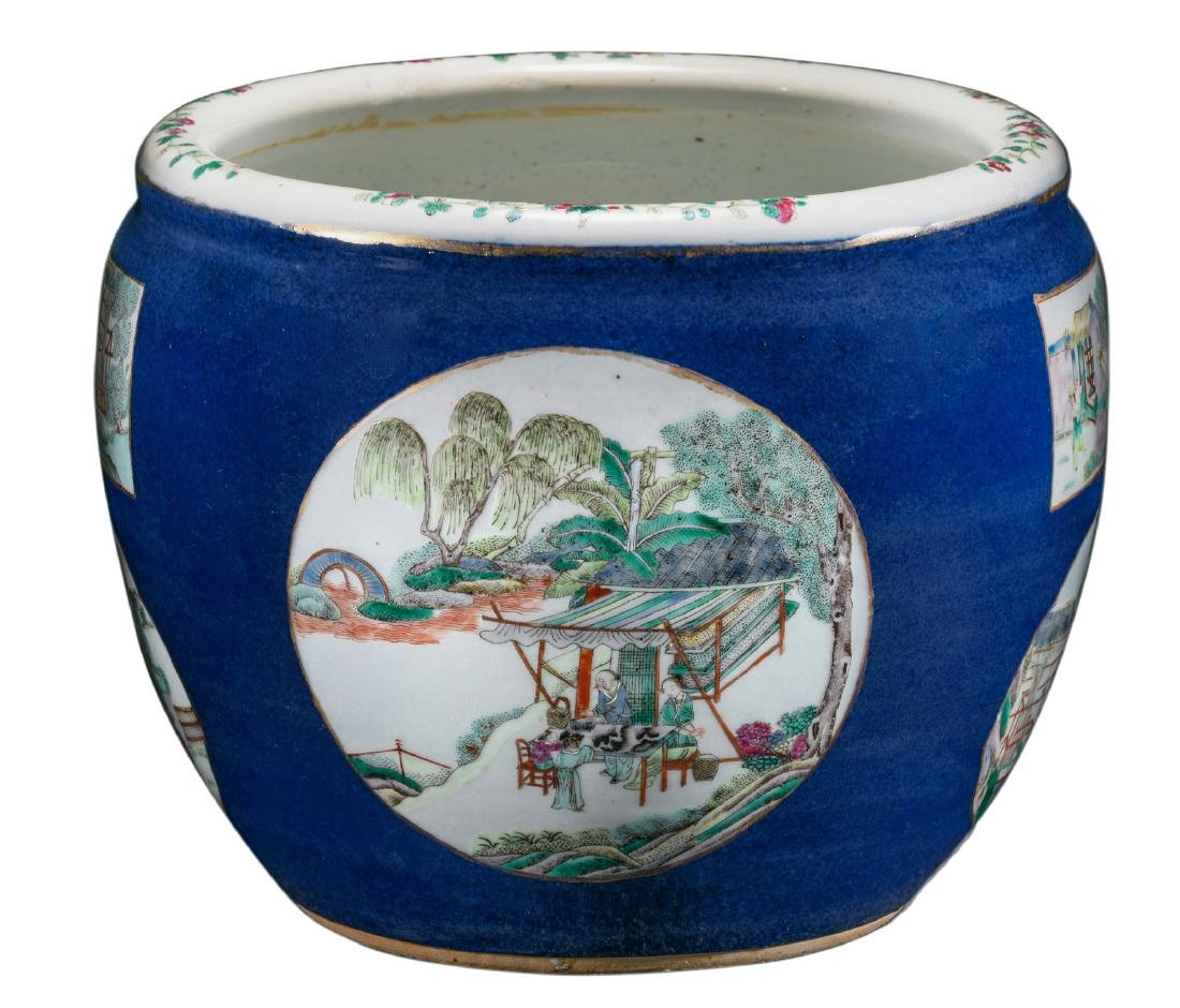 A Chinese bleu poudre jardiniere, the roundels famille