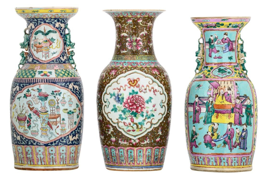 Three Chinese polychrome famille rose floral decorated