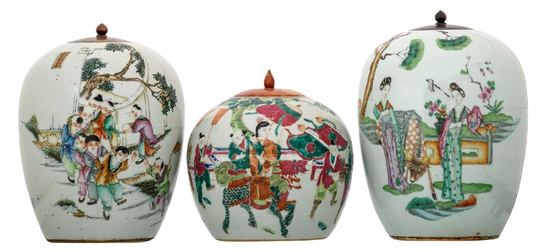 Three Chinese famille rose ginger jars, polychrome