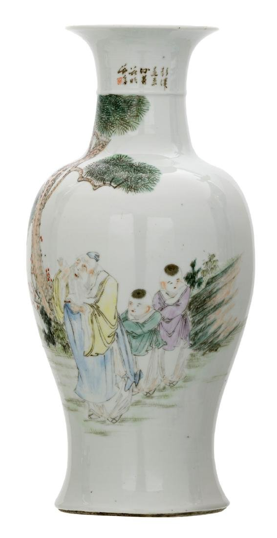 A Chinese baluster shaped vase, polychrome decorated
