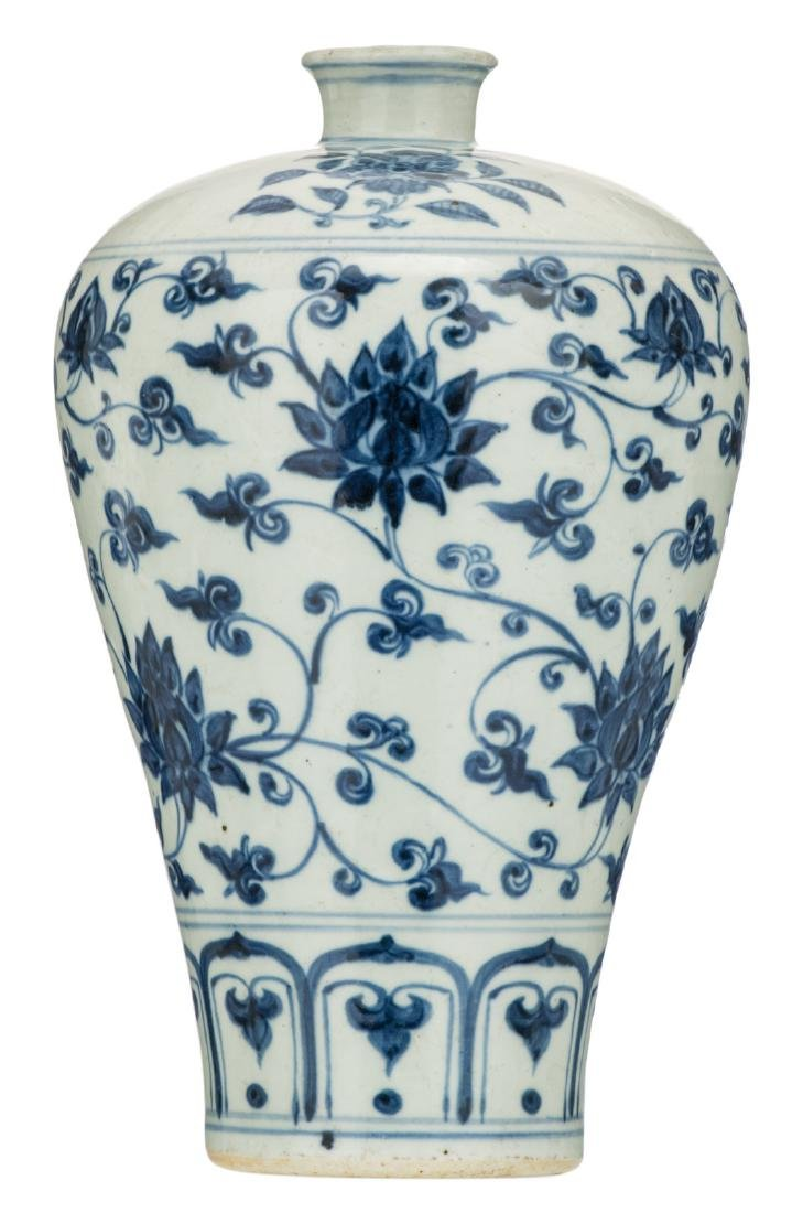 A Chinese blue and white floral decorated Meiping vase