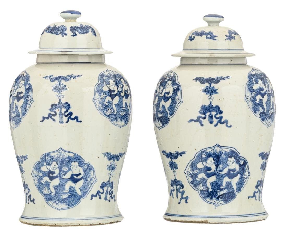 A pair of Chinese blue and white decorated vases and