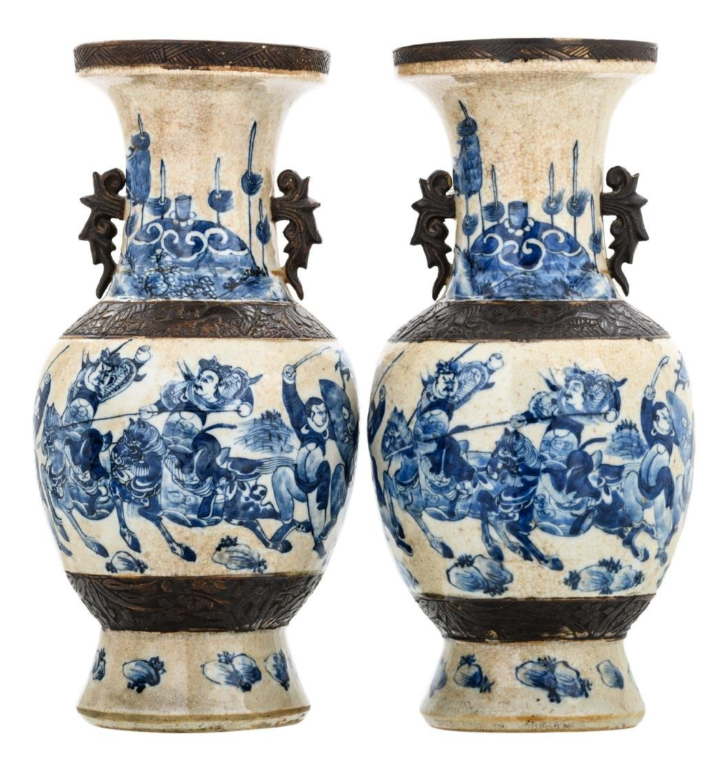 Two Chinese baluster shaped stoneware vases, blue and