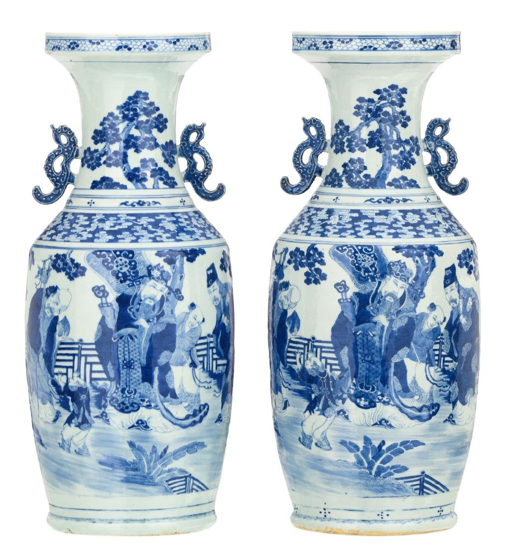 Two Chinese blue and white decorated vases depicting
