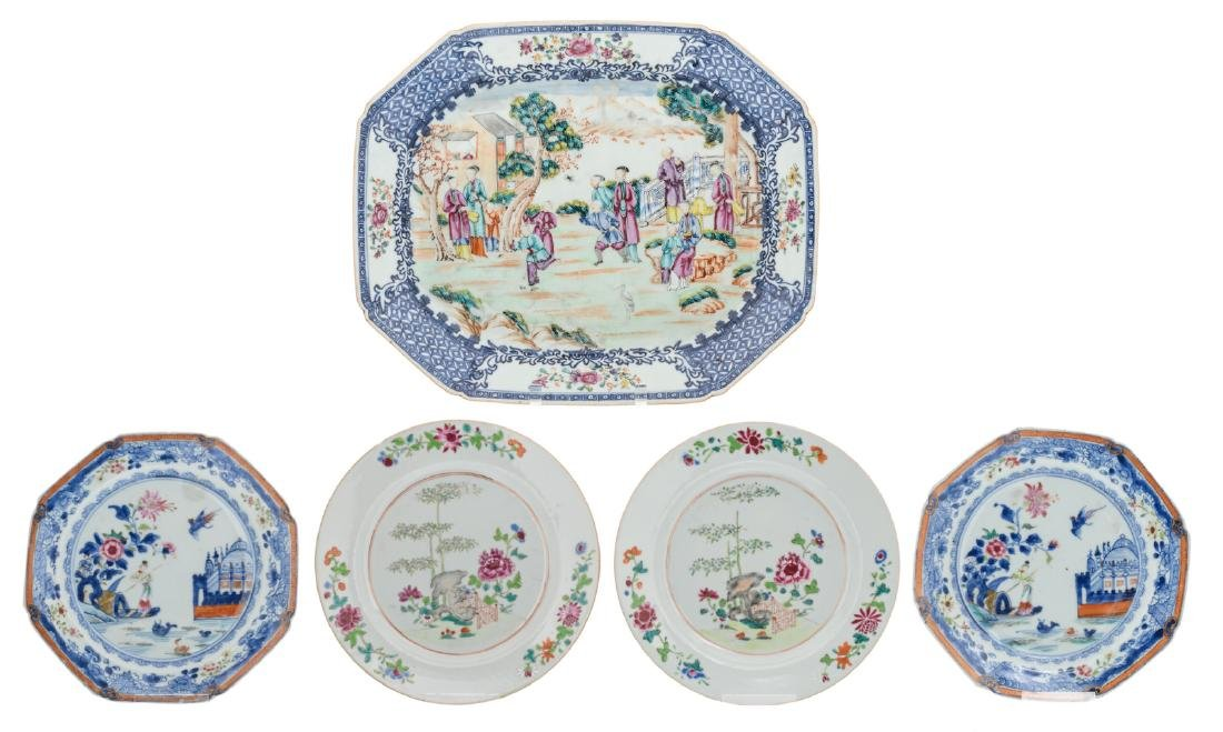 A Chinese octagonal blue and white and sur decore plate