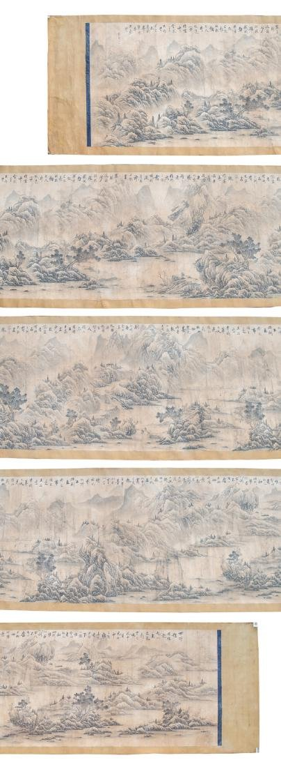 An exceptional Chinese scroll depicting figures in a