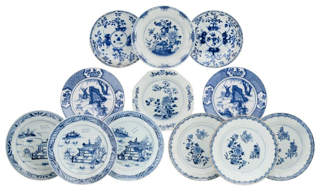 A various of Chinese blue and white floral decorated