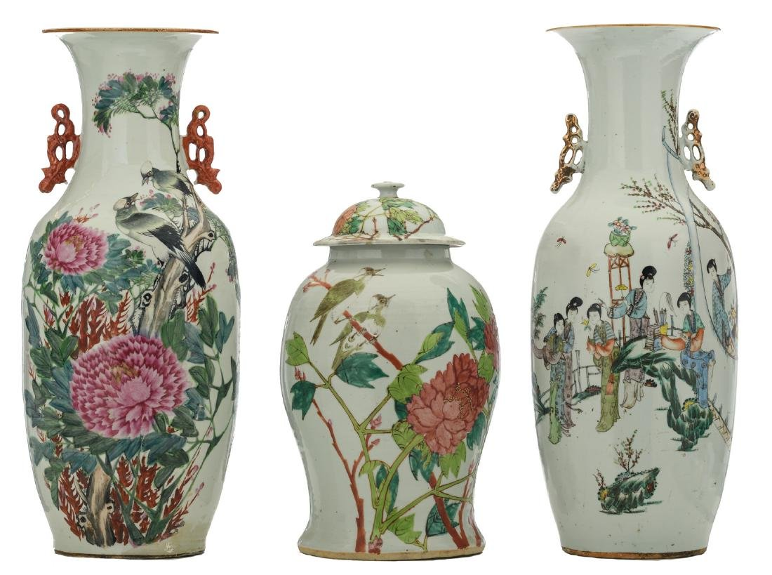 A Chinese famille rose decorated vase and vase and