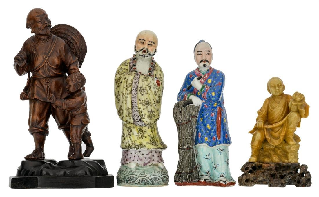Two Chinese polychrome decorated figures, one figure