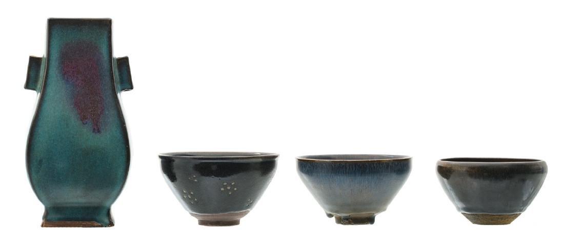 Three Chinese temmoku bowls, two bowls hare's fur