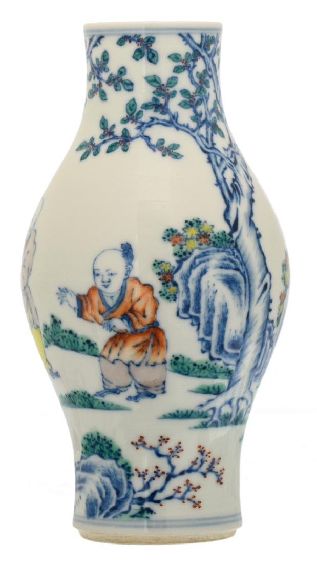 A Chinese doucai baluster shaped vase overall decorated
