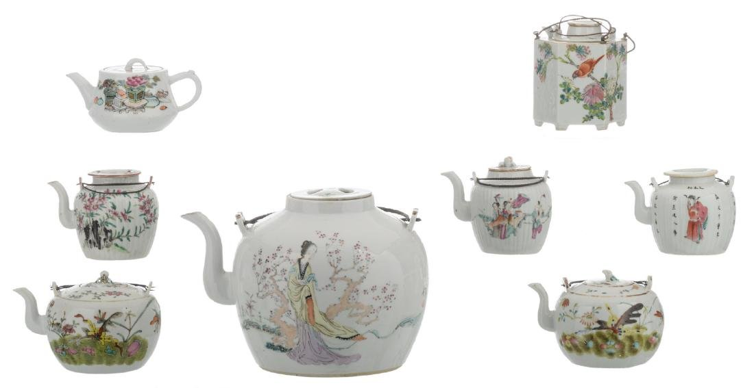 A various of eight Chinese famille rose teapots and