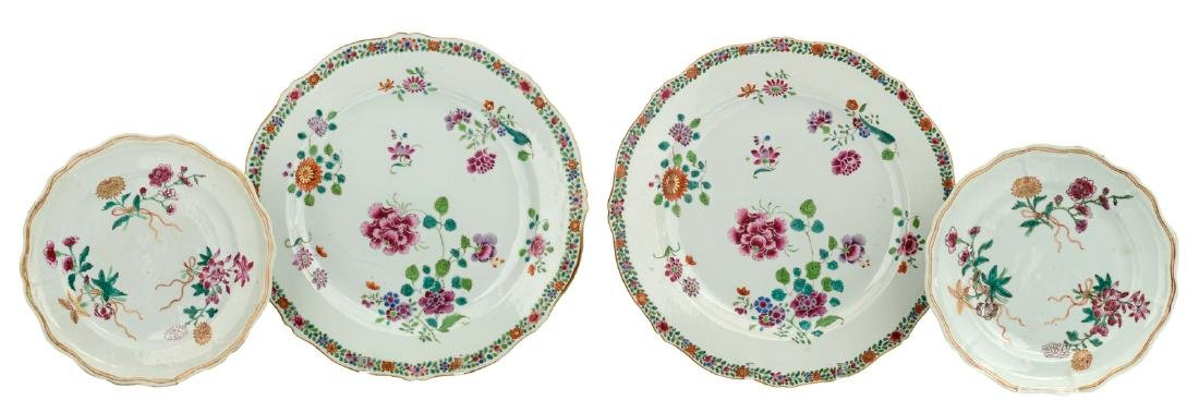 Two Chinese famille rose export porcelain plates,
