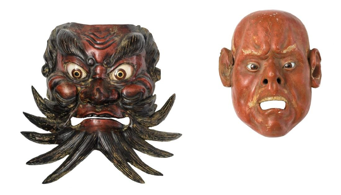 Two Japanese polychrome lacquered No theatre masks, H