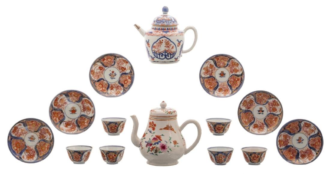 A Chinese Imari teapot and cover with silver mount and