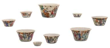A set of Chinese famille rose decorated bowls with