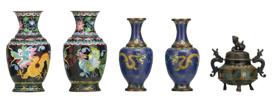 Two pairs of Chinese cloisonne dragon decorated vases;