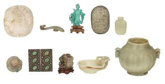 A various Chinese stone carvings, including jade, 19th