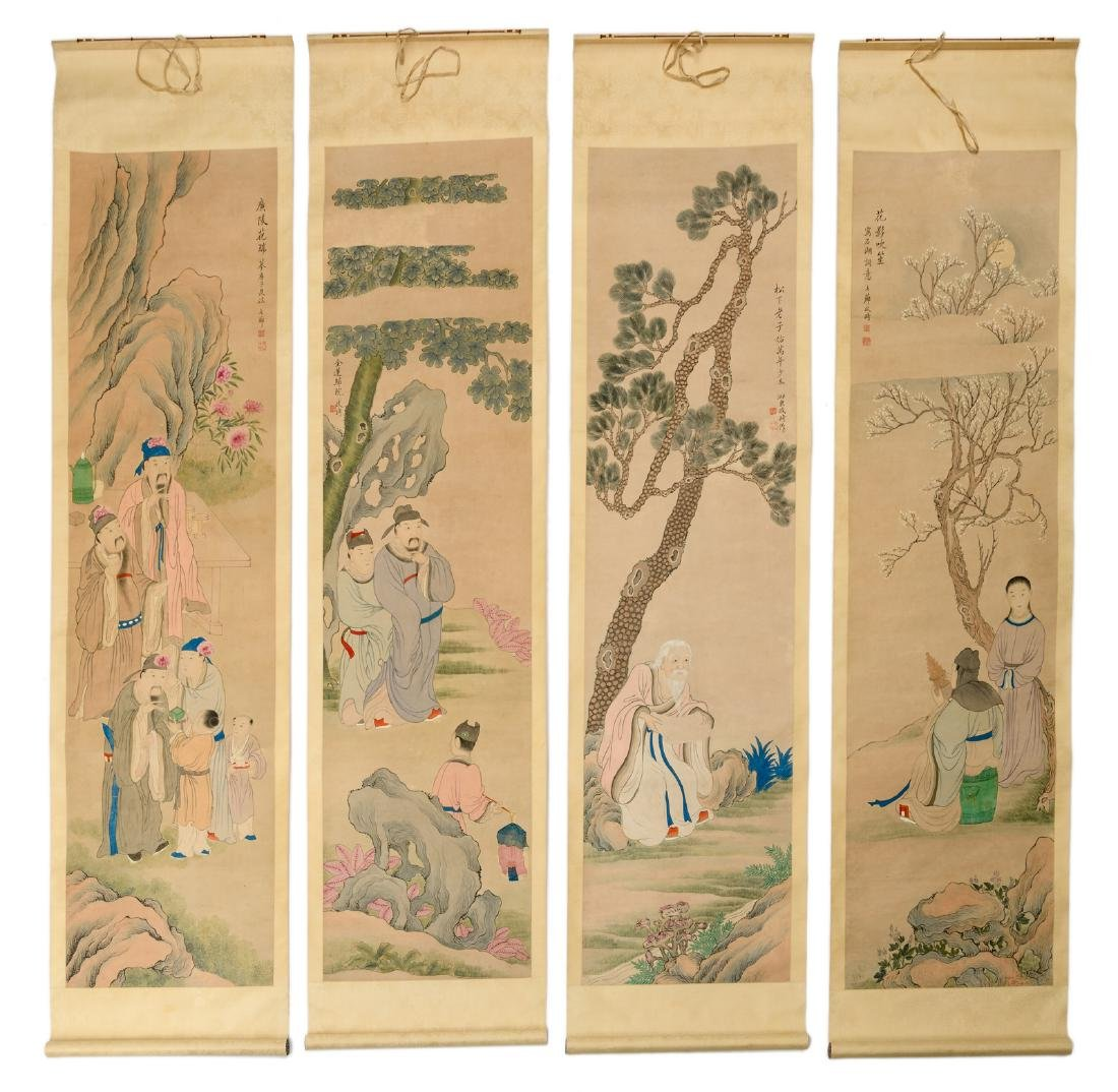 A series of four Chinese scrolls, watercolour on paper,