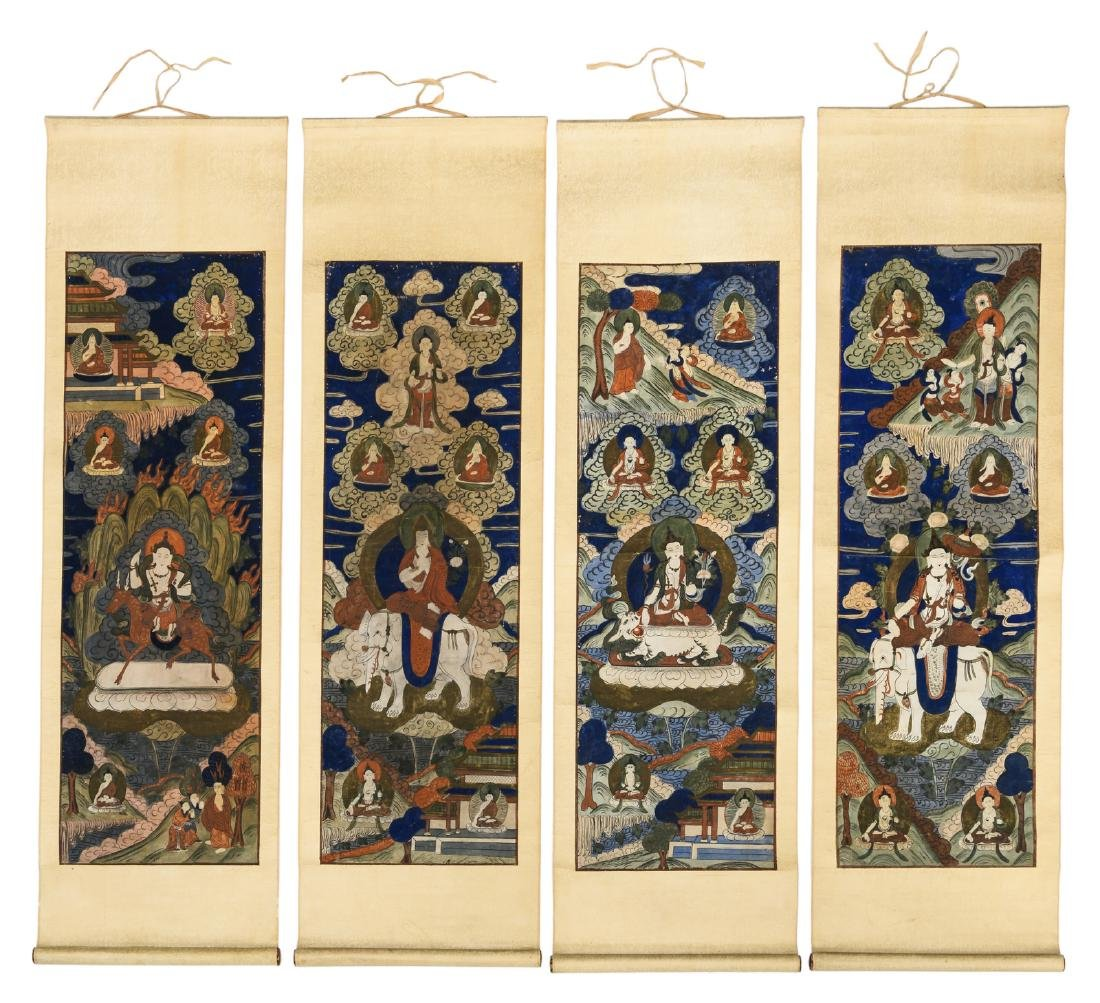 A series of four Sino-Tibetan scrolls, gouache on