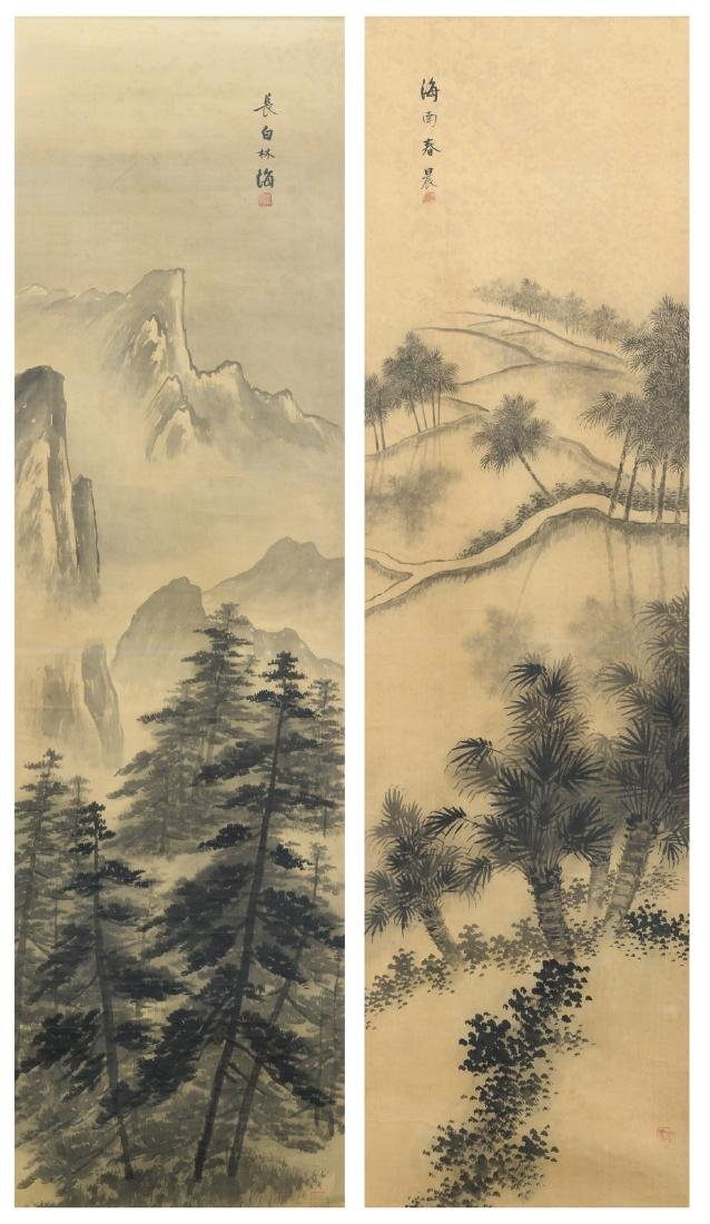 Two Chinese paintings, ink on silk, depicting a