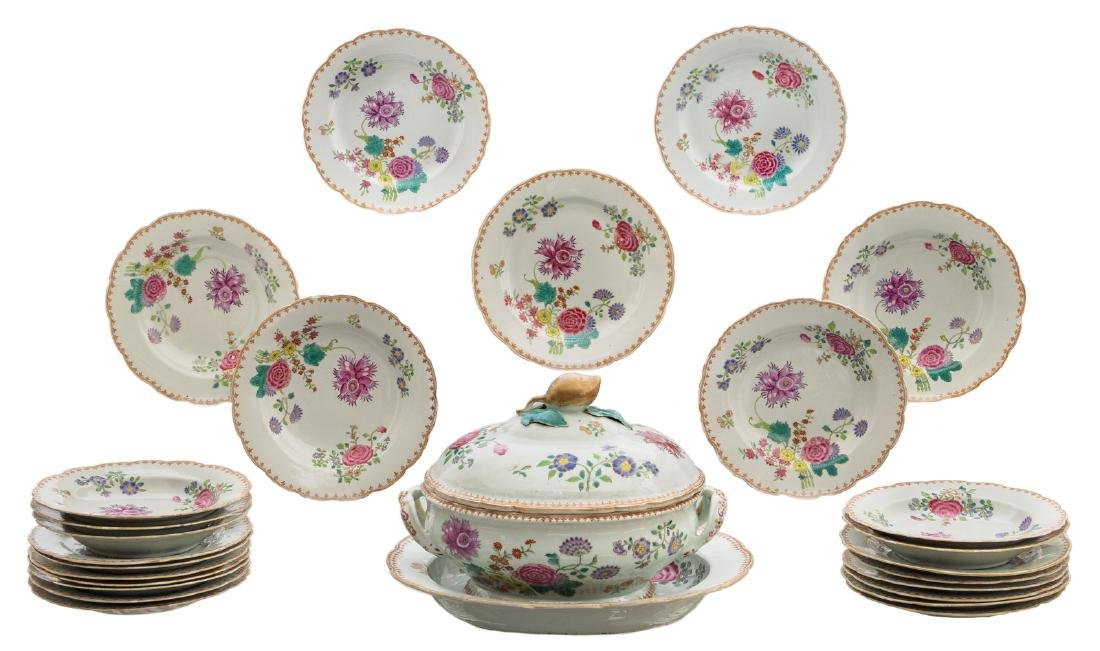 A part of a Chinese export porcelain dinner service,