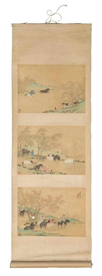 A Chinese scroll, watercolour on paper,depicting three