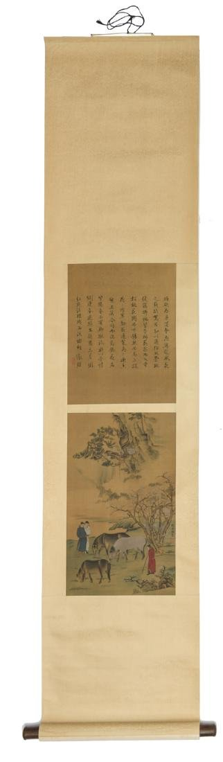 A Chinese scroll, watercolour on silk, depicting
