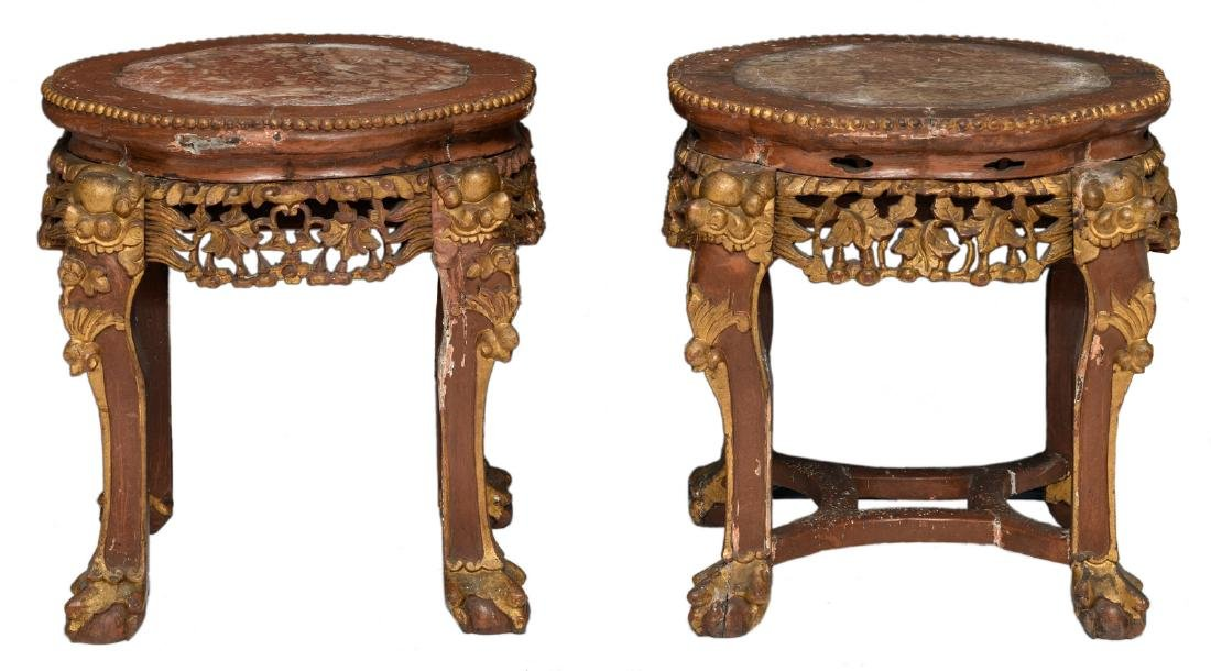 A pair of Chinese carved and polychrome decorated gilt